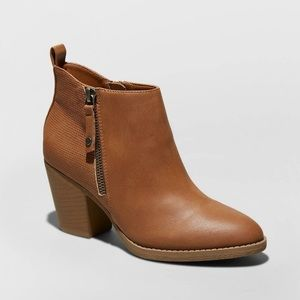 Jameson Faux Leather Double Zip Bootie Wide - NWOT